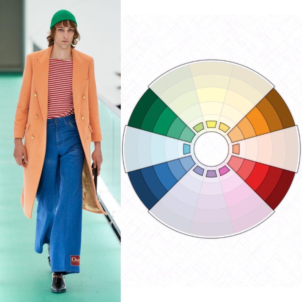 Прямоугольное  сочетание цветов в одежде