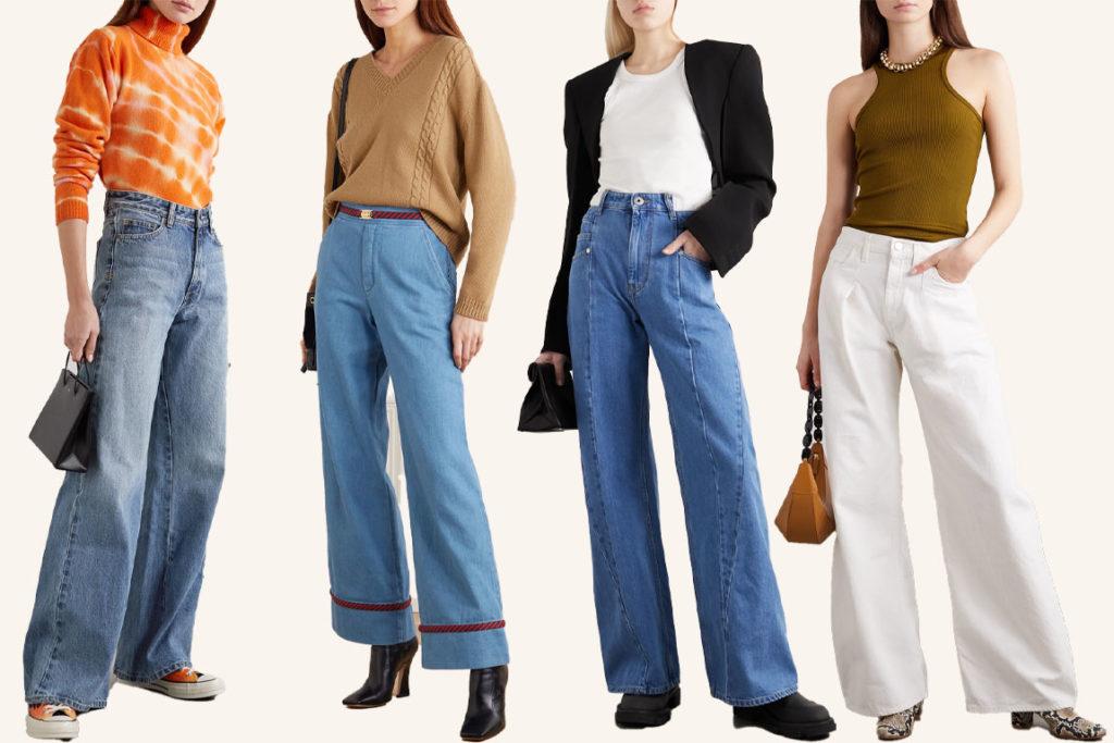 wide leg джинсы трубы как и с чем носить