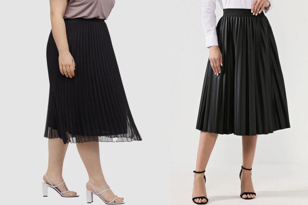 чёрная плиссированная юбка