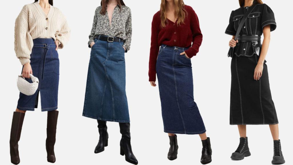 Джинсовые юбки миди