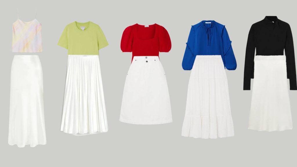 Белые юбки миди