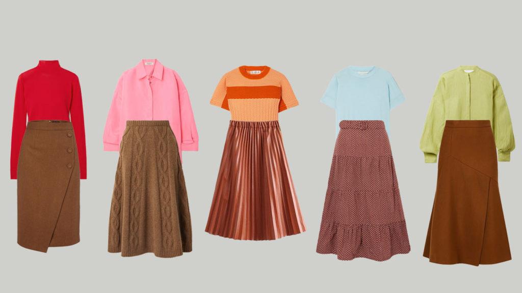 Коричневые юбки миди