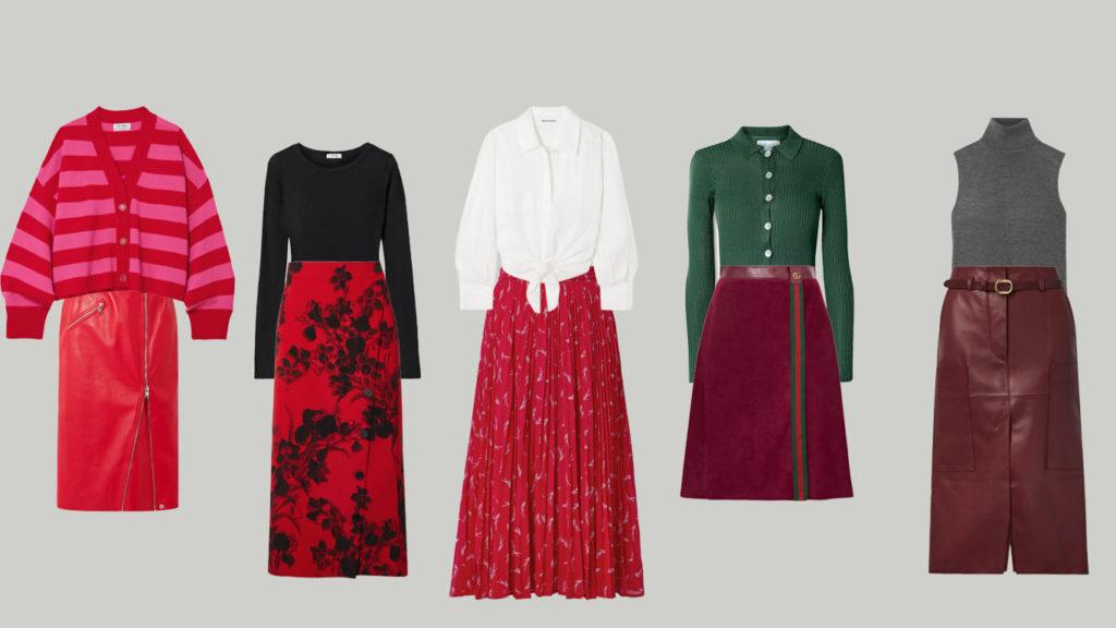 Красные юбки миди